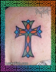 Stained Glass Cross Tattoo by Pat Fish
