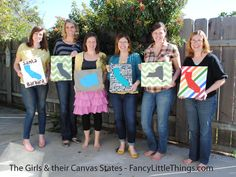 Another cute idea for a Pinterest Party! Canvas States!