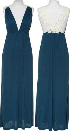 Rayon Jersey Maxi Dress W/ Crochet Strap