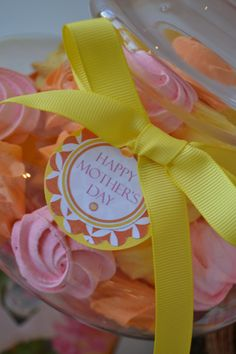 Colorful meringues and a Happy Mother's Day tag. Baking by Bake Sale, styling by Sweet Design Company.