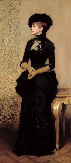 Reminiscent of a John Singer Sargent - Charles-Alexandre Giron, La Parisienne, 1883 John Singer Sargent, Painted Ladies, Portraits, Woman Painting, Victorian Fashion, Victorian Era, 1880s Fashion, Parisian Fashion, Victorian Ladies
