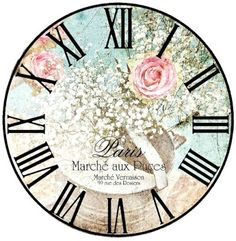 Roman Numerals and flowers Decoupage Vintage, Decoupage Paper, Shabby Vintage, Shabby Chic, Clock Craft, Diy Clock, Clock Face Printable, Clock Template, Unusual Clocks