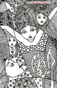 zentangle by denise thewissen Animal Coloring Pages, Adult Coloring, Tangle Art, Hippie Art, Zen Art, Mandala Art, Doodle Art, Art Drawings, Illustration Art