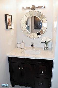 mirrors. flowers. vanity.