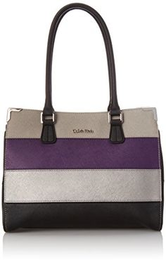 Calvin Klein Calvin Klein Saffiano Colorblock Tote Bag, Acai Combo, One Size Calvin Klein