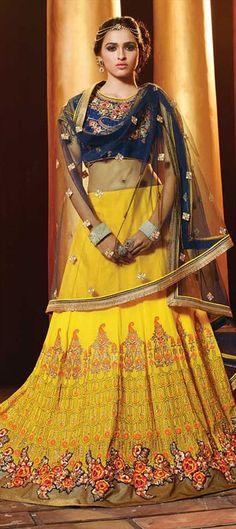 192039 Yellow  color family Brides maid Lehenga, Mehendi & Sangeet Lehenga in Faux Georgette, Viscose fabric with Lace, Machine Embroidery, Resham, Thread, Zari work .