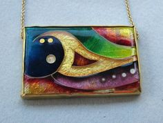 "Golden Wave - Cloisonne Enamel Necklace by woodsholme on Etsy, $500.00 This 1 5\/8"" x 7\/8"" gold cloisonne jewel combines foils and granulation. It is set in a 14K gold bezel setting with a fine 14K gold chain <3<3<3"