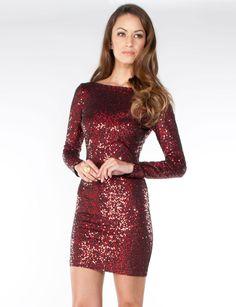 Long Sleeved Sequin Dress