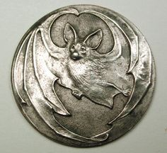 Old French Metal Button Art Nouveau Flying Bat Design 1 & 1/16""