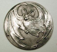 "Old French Metal Button Art Nouveau Flying Bat Design 1 & 1/16"""