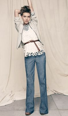 Love the jeans blue  bluse weiss cardigan grau