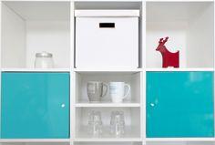 #HALVERA #Regalfachteiler für #EXPEDIT und #KALLAX Regale mit Türkisfarbene #Blenden (Türen u. Schubladen) von #IKEA®