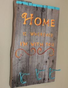 Rustic Coat Rack - Home is Wherever Im With You  - Reclaimed pallet wood via Etsy