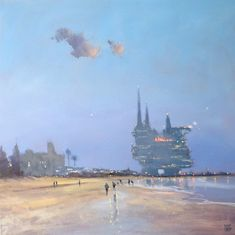 """""""Beached-Rig Hotel - seascape fantasy"""" by Mike Barr. Paintings for Sale. Australian People, Australian Artists, White Box Frame, Buy Art Online, You're Awesome, Box Frames, Paintings For Sale, Online Art Gallery, Rigs"""
