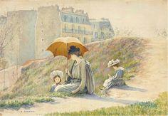 ■ HAWKINS, Louis Welden (French, 1849-1910) - Mère et ses deux enfants assis dans l'herbe aux abords de Paris. Chalk, watercolor on paper mounted on canvas 38 x 55.5 cm (http://www.christies.com/lotfinder/drawings-watercolors/louis-welden-hawkins-mere-et-ses-5880709-details.aspx) ■ Луис Велден ХОУКИНС - Мать и двое детей, сидящие в траве на окраине Парижа