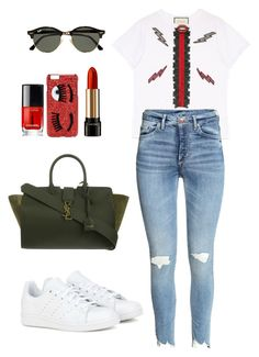 """""""Untitled #526"""" by coockie-and-black-forest-gateaus ❤ liked on Polyvore featuring Gucci, adidas, Yves Saint Laurent, Ray-Ban, Chanel, Chiara Ferragni and Lancôme"""