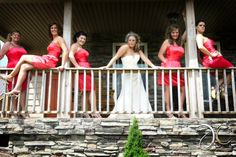 Bride with bridesmaids... on the balcony at TH