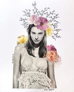 Muse No. 6 flower collage by kate rabbit