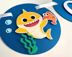 PLEASE LEAVE A NOTE TO SELLER WITH YOUR EVENT DATE Baby shark do do doo. decorate your little one baby shark party with this banner! Size: (circle) Shark & fish are printed. Boys First Birthday Cake, Boy Birthday Parties, Baby Birthday, Birthday Ideas, Birthday Design, Shark Party, Preschool Art, Baby Shark, Birthday Decorations