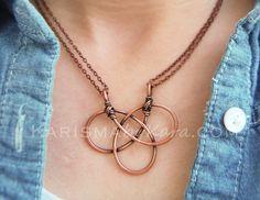 Celtic Knot. Oxidized Copper. Wire Jewelry