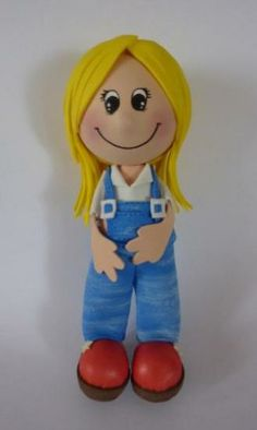 cute little girl in bibs...made in clay, NO tutorial