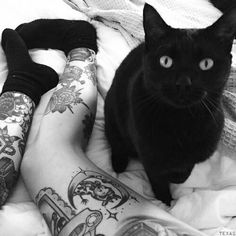 How could you ever say no to that face? #inked #inkedmag #tattoo #cat #kitty #black #cute #face #animal