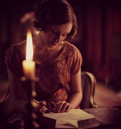 Lady Edith : writing letter by candlelight Letters From Home, Love Letters, Jean Paul Sartre, Story Inspiration, Writing Inspiration, Jane Austen, Handwritten Letters, Anne Frank, Lost Art