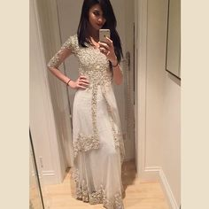 When I was trying outfits on at I love classic white! This fit me like a glove! Love you all 💙💙💙 For more info email:… Pakistani Fashion Party Wear, Pakistani Bridal Wear, Pakistani Outfits, Bollywood Fashion, Indian Outfits, Indian Fashion, High Fashion, Lehenga Designs, Desi Clothes