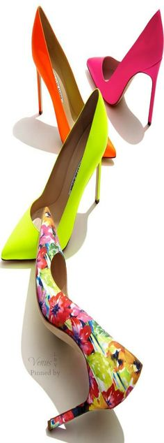 Stylist, I'd love a pair of bright pumps to start off spring with! Mid heel though - 2 or inch heel comfortable shoes. --- Walk on sunshine with bright and bold designs by Manolo Blahnik, featuring pumps. Zapatos Shoes, Shoes Heels, Manolo Blahnik Heels, Killer Heels, Fashion Heels, Beautiful Shoes, Shoe Collection, Me Too Shoes, Madrid
