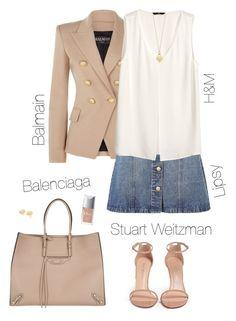 """Beige ☺️"" by xofashionismylovexo ❤ liked on Polyvore featuring Balenciaga, Balmain, Anita & Green, H&M, Stuart Weitzman, Tiffany & Co. and Christian Dior"