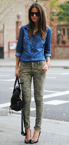 I would like a pair of camo pants. I like the faded color of these. 41 Women's… I would like a pair of camo pants. I like the faded color of these. 41 Women's Denim Shirt ‹ ALL FOR FASHION… Continue Reading → Camo Pants Outfit, Camo Outfits, Denim Outfit, Casual Outfits, Camo Fashion, Look Fashion, Autumn Fashion, Street Fashion, Denim Fashion