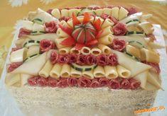 Slaná torta + dalsie slane torty v postupe Cheese Fruit, Wedding Appetizers, Czech Recipes, Sandwich Cake, Food Garnishes, Snack Recipes, Snacks, Salty Cake, Food Decoration
