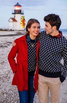 New England Classic Style | Anchored In New England | L.L.Bean navy blue birds-eye jumper, seasise, lighthouse