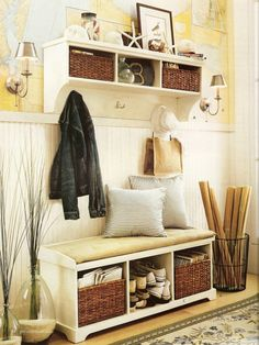 Little Inspirations: foyer inspiration. Would like to try the baskets under a bench for hidden shoe storage