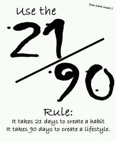Use the 21/90 rule: it takes 21 days to create a habit. It takes 90 days to create a lifestyle. Yeah baby, this is totally  #WildlyAlive! #selflove #fitness #health #nutrition #weight #loss LEARN MORE →  www.WildlyAliveWeightLoss.com