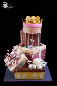 Gift Boxes Cake...You could really get creative with this cake and ...
