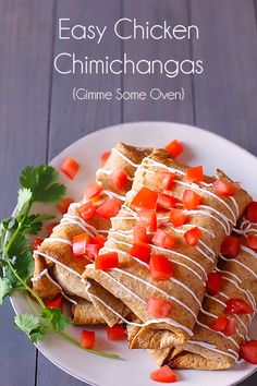 Easy Chicken Chimichangas   gimmesomeoven.com