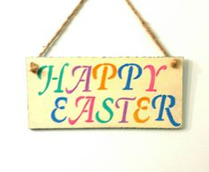Your place to buy and sell all things handmade Bow Garland, Party Garland, Happy Easter, Easter Bunny, Easter Eggs, Rustic Signs, Rustic Decor, Wood Design, Diy Design