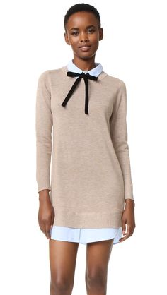 English Factory Combo Shirtdress - Taupe/Oxford Blue | Shirting trim lends a layered look to this heathered knit ENGLISH FACTORY dress. An optional velvet ribbon accents the collar, which is secured with a single button and hook and eye closures. Ribbed edges and long sleeves. Rounded hem.