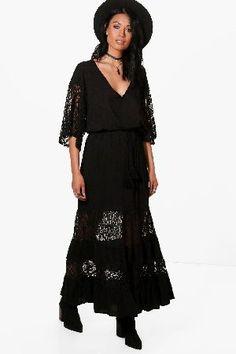 #boohoo Lace Panelled Maxi Dress - black DZZ60840 #Ahlai Lace Panelled Maxi Dress - black