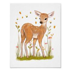 Nursery Drawings, Nursery Wall Art, Baby Animal Drawings, Nursery Fabric, Nursery Decor, Cartoon Drawings, Cute Drawings, Deer Drawing, Drawing Tips
