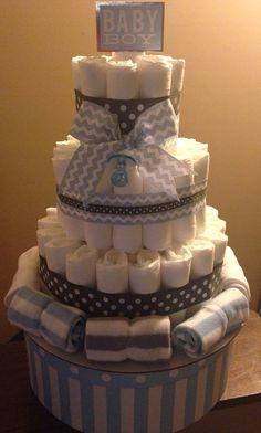 Chevron/elephant diaper Cake for baby shower gift or centerpiece on Etsy, $35.00