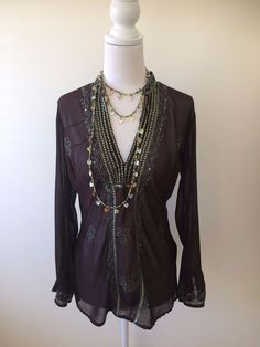 Brown & Green Embellished Indian Sheer Sequined Hippie Boho Blouse w Wide Cuffs  | eBay