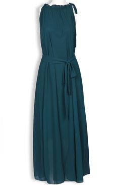 Green Sleeveless Straps Pleated Chiffon A Line Dress