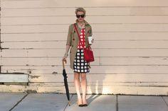 Atlantic Pacific Dress: Milly. Shoes: Zara (old). Trench: Gap (similar here and fun colors here). Bag: Celine. Sunglasses: Karen Walker. Umbrella: Target. Necklace: BR (old). Nails: Essie 'Lollipop'. Jewelry: YSL, Michael Kors Watch, Jcrew Baubles, GAP Bangles, David Yurman.