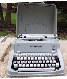 """1968 Working Hermes Media  3 """"Portable"""" Typewritter with case by ourPastourFuture on Etsy"""