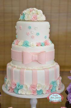 Blog Encontrando Ideias Baby Cakes, Girl Cakes, Cupcake Cakes, Cupcakes, Pretty Cakes, Beautiful Cakes, Amazing Cakes, Torta Baby Shower, Cake Decorating For Beginners