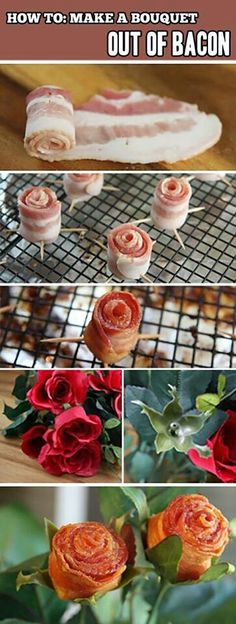 Funny pictures about Bacon Bouquet. Oh, and cool pics about Bacon Bouquet. Also, Bacon Bouquet. Cute Food, Good Food, Yummy Food, Bacon Recipes, Cooking Recipes, Bacon Bouquet, Tapas, Bacon Roses, Making A Bouquet