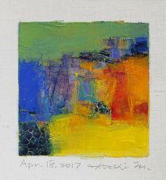 "Apr. 18, 2017 9 cm x 9 cm (app. 4"" x 4"") oil on canvas  © 2017 Hiroshi Matsumoto"