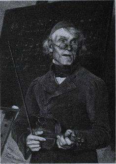 Gesangslehrer mit Geige  Der Herr Cantor, Holzstich nach einem Gemälde, 19. Jh.  Teacher with a violin.    Es ist keine kommerzielle Nutzung des Bildes erlaubt. But feel free to repin it!